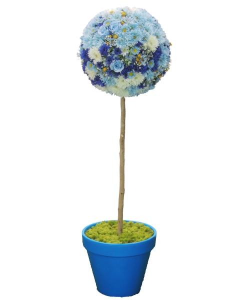 フラワートピアリーの人工観葉植物造花 オブジェ インテリア 円形 おしゃれ 室内 送料無料カード決済可能 花の置物 ディスプレイ 観葉植物 造花 バースデー 記念日 ギフト 贈物 お勧め 通販 人工 フラワートピアリー150cmライトブルー 装飾