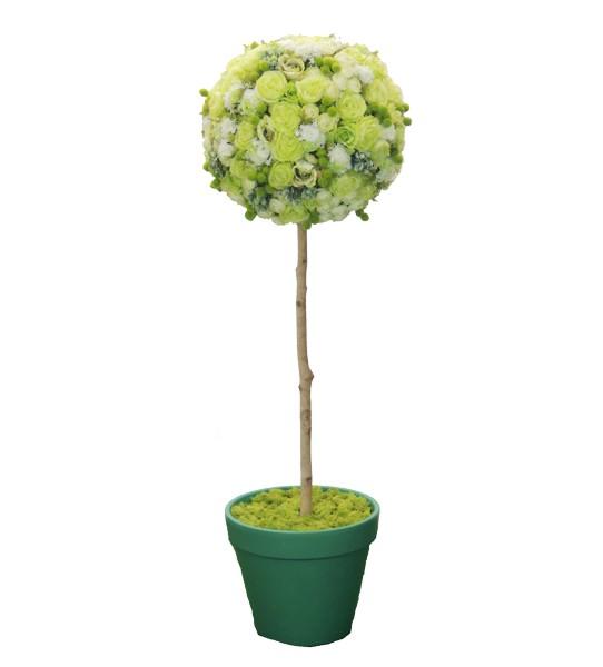 フラワートピアリーの人工観葉植物造花 オブジェ インテリア 休日 円形 おしゃれ 装飾 お花 返品交換不可 ディスプレイ フラワートピアリー150cmグリーンホワイト 人工 造花 観葉植物 置物