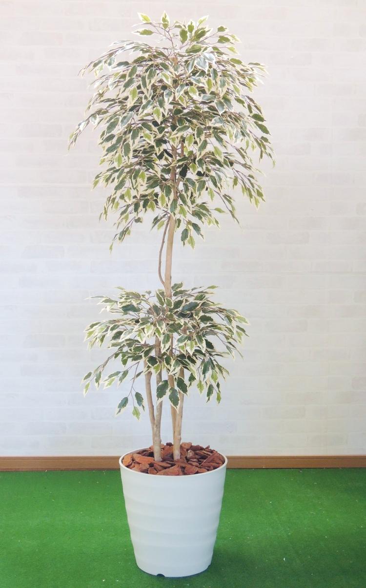 グリーン 人工樹木 人工観葉植物 造花 1.8m インテリア おしゃれ 斑入りベンジャミントロピカル 室内 180cm 新品未使用正規品 装飾 超特価 ベンジャミン 大型