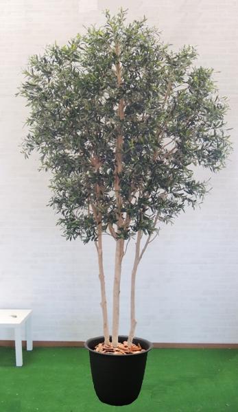 大型サイズのオリーブ高さ300cm3本株立(人工観葉植物 造花 インテリア おしゃれ 室内 シンボルツリー 鉢植え 実)