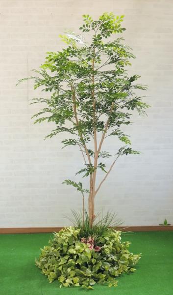 鉢を使わない装飾仕立て 造花 インテリアグリーン アウトレットセール 特集 人工 観葉植物 室内 おしゃれ 大型 トネリコの木 2本株立 インテリア 180cm 装飾 格安 価格でご提供いたします 装飾付 ディスプレイ 作り物 グリーン フェイク 1.8m