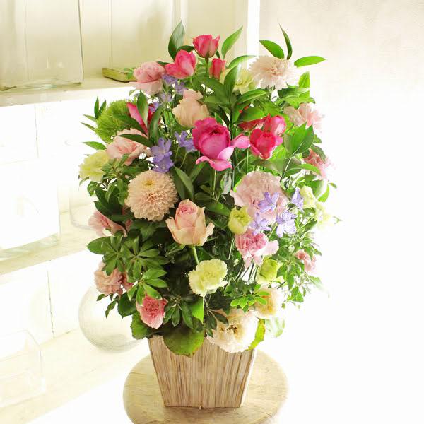 アレンジメントフラワーLサイズ Girlishness(ピンク系)※デザイナーが手がけるお洒落な一品誕生日祝い バースディ 開店祝い オープン記念 室内インテリア 贈り物 フラワーギフト プレゼント お祝い お花 送料無料 メッセージカード無料 あす楽