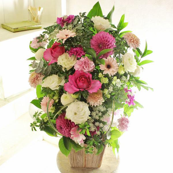 アレンジメントフラワーLサイズ Girlishness(ピンク系)※デザイナーが手がけるお洒落な一品お見舞い 入院見舞い 快気祝い 退院祝い 贈り物 フラワーギフト プレゼント お祝い お花 送料無料 メッセージカード無料 あす楽