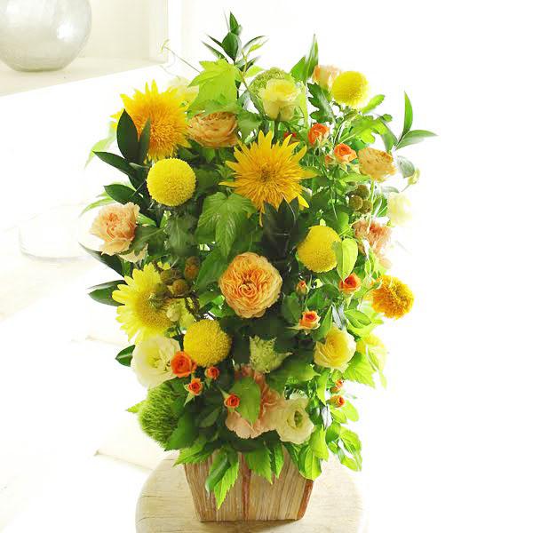 アレンジメントフラワーLサイズ Warm Impressed(黄色・オレンジ系)※デザイナーが手がけるお洒落な一品お見舞い 入院見舞い 快気祝い 退院祝い 贈り物 フラワーギフト プレゼント お祝い お花 送料無料 メッセージカード無料 あす楽