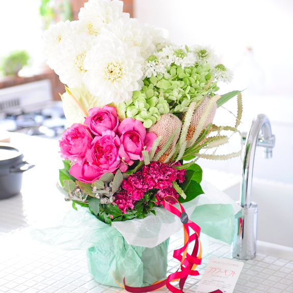 デザイナーズフラワー モダンワンサイド ~癒しの一時を~開店祝い 開業祝い 就任祝い 昇進祝い 退職祝い ご栄転 贈り物 フラワーギフト プレゼント お祝い お花 送料無料 メッセージカード無料 あす楽
