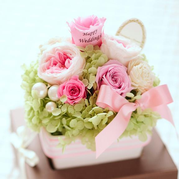 【電報付き祝い花】クリアケース入りのメッセージフラワー パステルアレンジL(ピンクのプリザーブドフラワー)と電報をお届け誕生日祝い 誕生祝い 出生 バースディ 贈り物 フラワーギフト プレゼント お祝い お花 送料無料 メッセージカード無料 あす楽