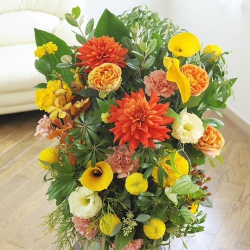 【電報(祝電)とお花を一緒にお届け】アレンジメントフラワーLサイズ Warm Impressed(黄色・オレンジ系)