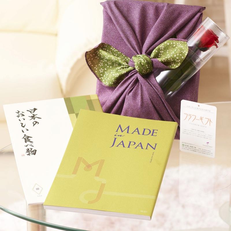花とギフトのセット プレゼント ステムローズとこだわりのカタログギフト(メイドインジャパン+日本のおいしい食べ物/MJ21+柳)風呂敷(紫/グリーン)結婚祝い 就任祝い 退職祝い 退職祝い 贈り物 あす楽 フラワーギフト プレゼント ギフトカタログ お花 送料無料 メッセージカード無料 あす楽, エイブリー:73a86b34 --- sunward.msk.ru