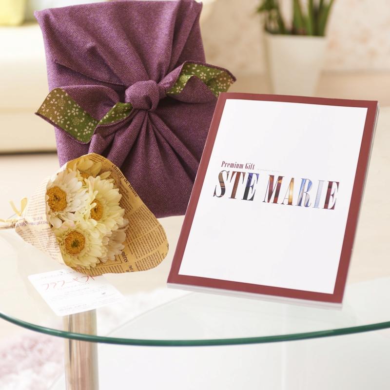 花とギフトのセット 造花花束とカタログギフト(ミストラル/セントマリー)風呂敷(紫/グリーン)包み【送料無料】