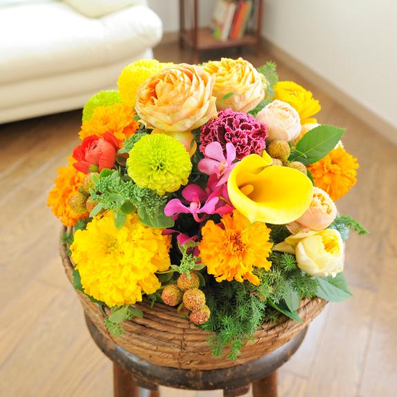 【電報(祝電)とお花を一緒にお届け】アレンジメントフラワー Round Basket(黄色・オレンジ系)お見舞い 入院見舞い 快気祝い 退院祝い 贈り物 フラワーギフト プレゼント お祝い お花 送料無料 メッセージカード無料 あす楽