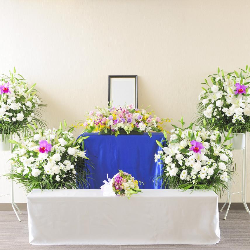 全国当日配送 供花 祭壇花 6点セット 1日葬・家族葬・お別れ会【送料無料】【配送・設置・回収つき】