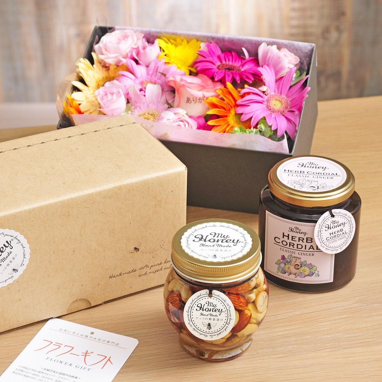お供え・仏事・弔事・香典返しに!≪お花が選べる≫ナッツの蜂蜜漬け・エルダーフラワーコーディアル(クラシックジンジャー)と選べるお花のギフトセット【送料無料】
