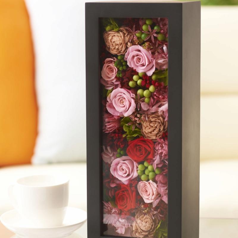 プリザーブドフラワー glass box(black)【送料無料】 プリザーブドフラワー glass box(black)【送料無料】