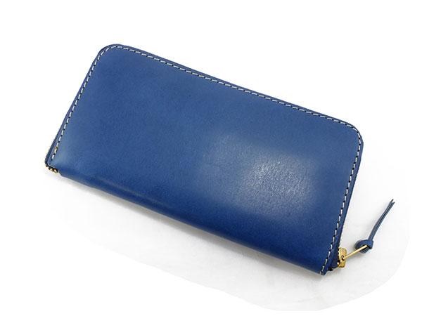 日本製 ハンドメイド 財布 メンズ 栃木レザー ラウンドファスナー長財布 伝統を守り続けた栃木レザーの革を贅沢に使用 ブルー×キャメル プレゼント ギフト クリスマス