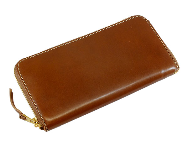 日本製 ハンドメイド 財布 メンズ 栃木レザー ラウンドファスナー長財布 伝統を守り続けた栃木レザーの革を贅沢に使用 ダークブラウン×キャメル プレゼント ギフト クリスマス