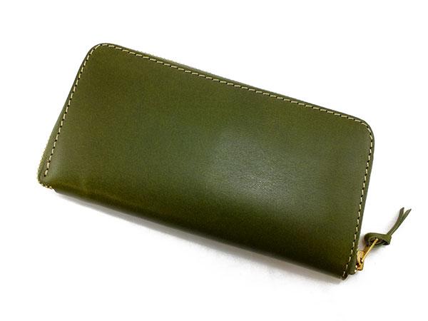 送料無料 日本製 ハンドメイド 財布 メンズ 栃木レザー ラウンドファスナー長財布 伝統を守り続けた栃木レザーの革を贅沢に使用 グリーン×キャメル 母の日 父の日 ギフト プレゼント