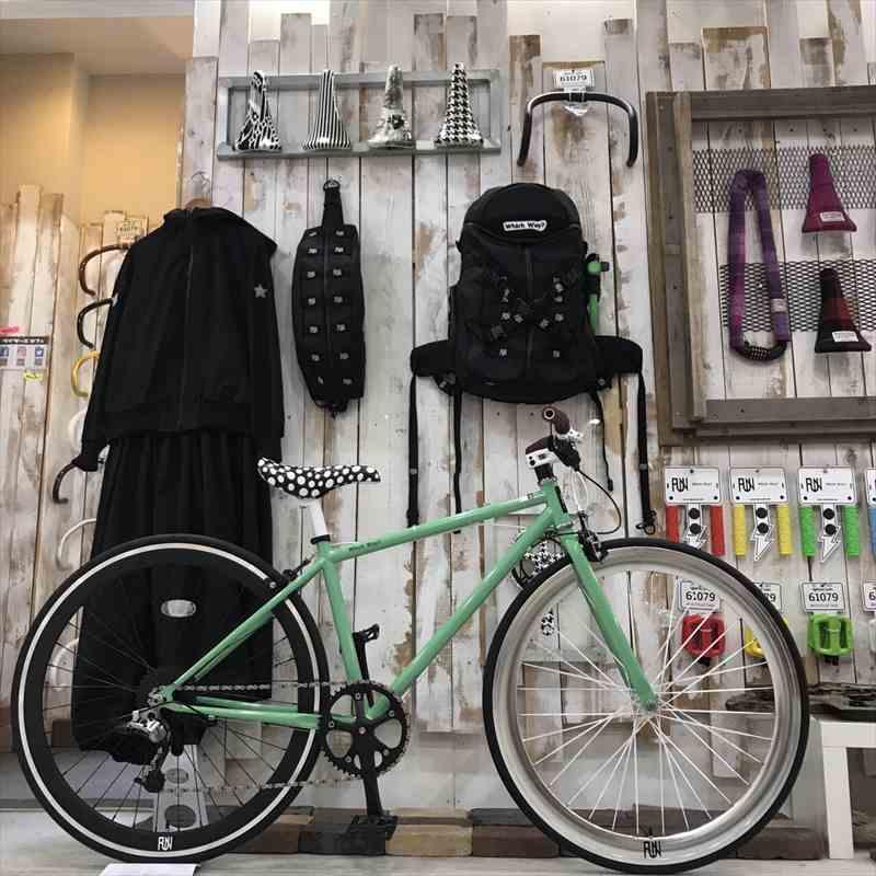 クロスバイク 完成車 FUN ギアライトグリーン フレーム(400mm)8段ギア[自転車][BMX][ピスト][ピストバイク][700C][23c][700][タイヤ][ホイール][ペダル][ブレーキ][ライダーズカフェ][東京][大阪][名古屋][福岡][カスタム]