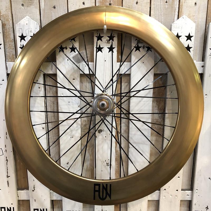 『FUN』【80mm ディープリム】 ブロンズ 700Cブラックスポーク※リアホイール単品[ピスト][パーツ][ピストパーツ][自転車][ホイール][コグ付][クリンチャー][完組][ライダーズカフェ][700C]