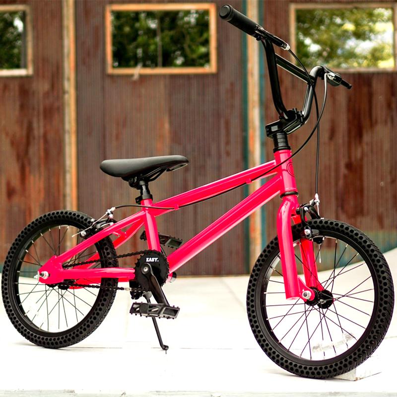 パンクしない自転車 FUN EASY KIDS BMX 16インチ 完成車ネオンピンクキッズ 子供用 おススメ BMX16インチ ノーパンクタイヤ ライダーズカフェ適正身長120cm以上