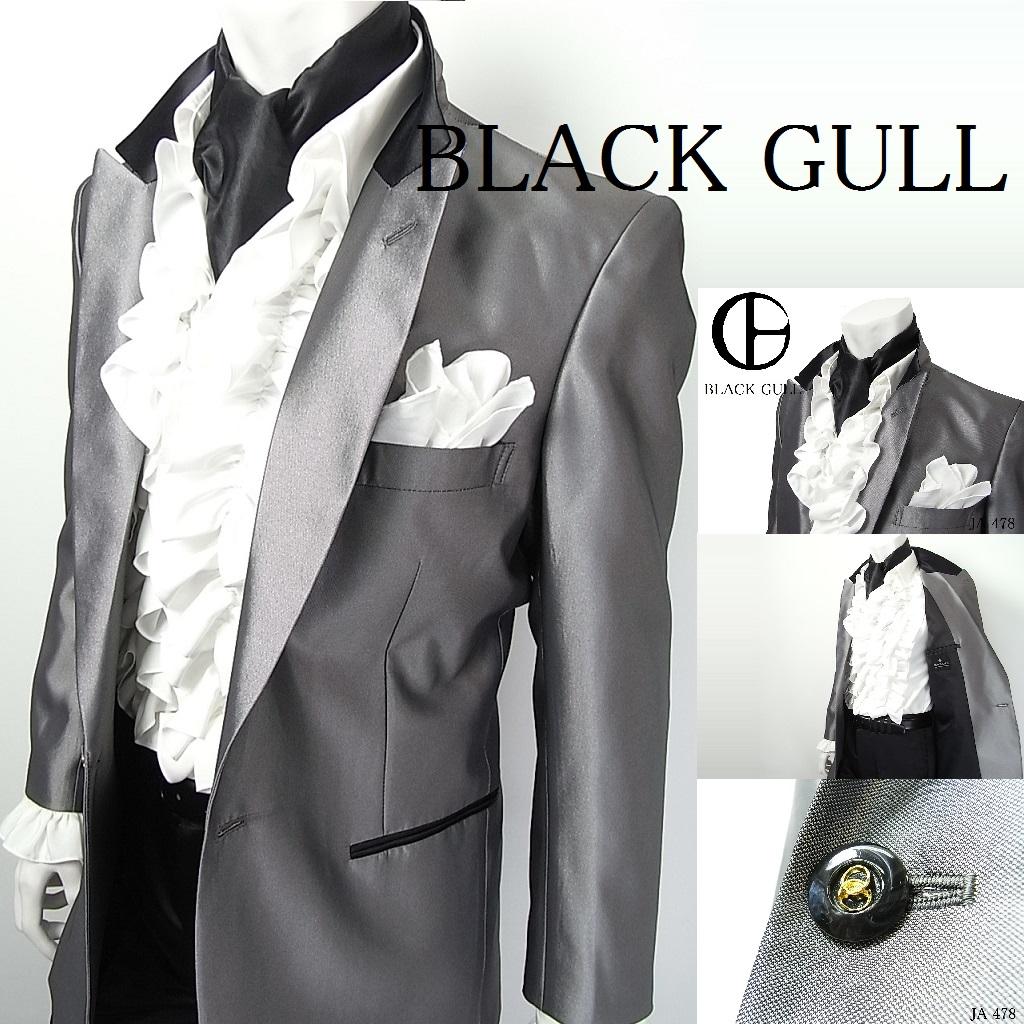 【BLACK GULL】メンズ ステージ衣装 コスチュームロック バンド衣装 男性【品番/デザイン】JA-478シャンブレー上衿コンビジャケット【送料無料】