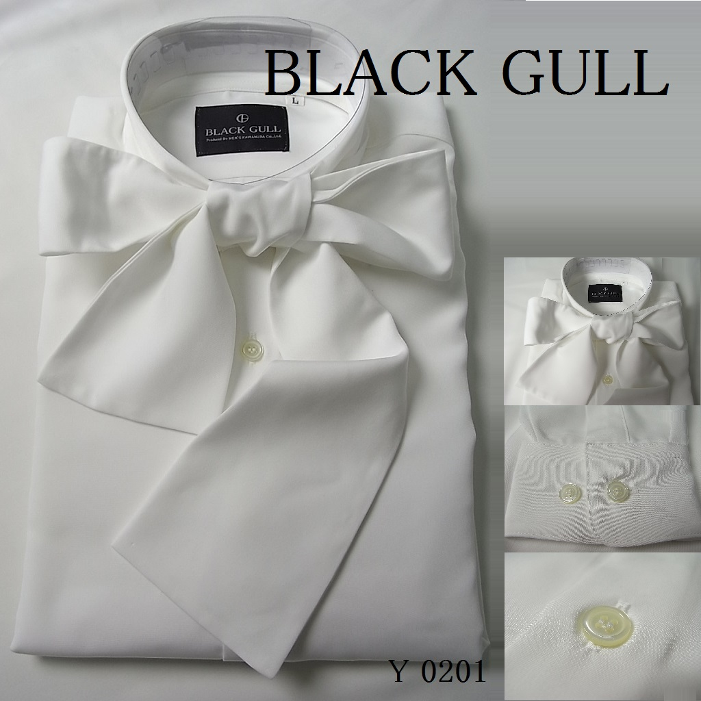 ステージ映えするリボンシャツ これ1枚で変わる 肌触りの良い国産素材 メンズ ステージ衣装 好評 コスプレ 安心の日本製 送料無料 品番 バンド衣装 デザイン 最安値に挑戦 Y-0201リボンタイシャツ BLACK コスチュームロック GULL 男性