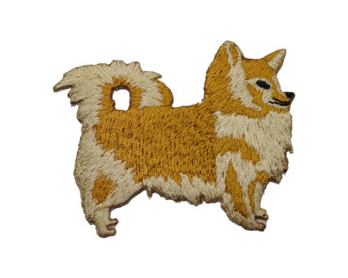 アイロンで簡単接着の刺繍ワッペン ブリード刺繍ワッペン 税込 チワワロング 送料無料でお届けします