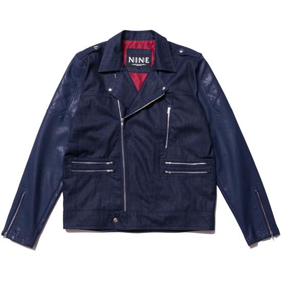 送料無料 NINE RULAZ LINE ナインルーラーズ Riders Jacket ライダースジャケット デニム PUレザー ネイビー
