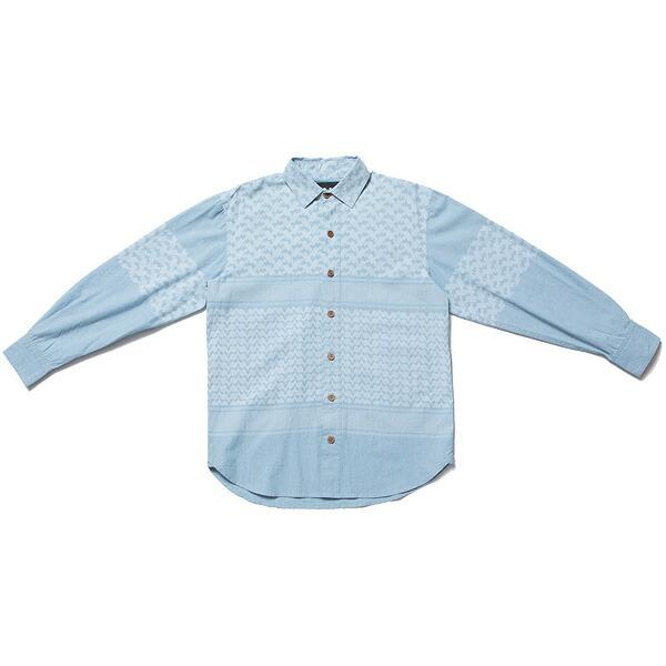 送料無料 NINE RULAZ LINE ナインルーラーズ Afghan Pattern Denim Shirt デニムシャツ NRAW17-023 ウォッシュドインディゴ