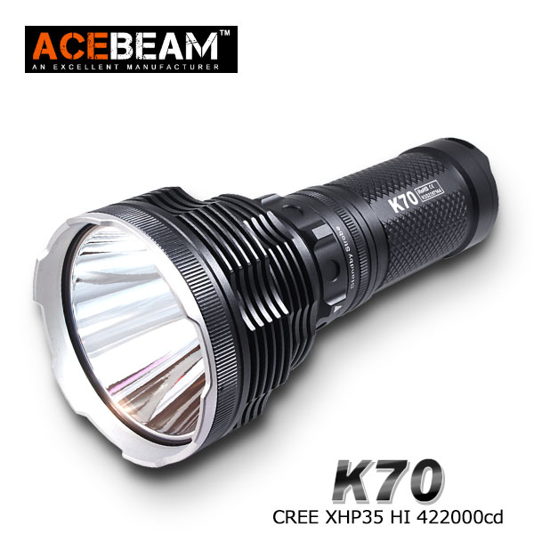 [ACEBEAM(エースビーム)] K70 CREE Xlamp XHP70(6000K) LED Max2600ルーメン/照射距離1300M/バッテリー別売