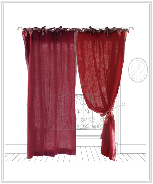 ストライプ リネン タッセル 赤 リボン オーダーカーテン・ヴェローヌ・ボルドー(1枚)/ クリスマス かわいい 上質 ワインレッド カーテン ボルドー