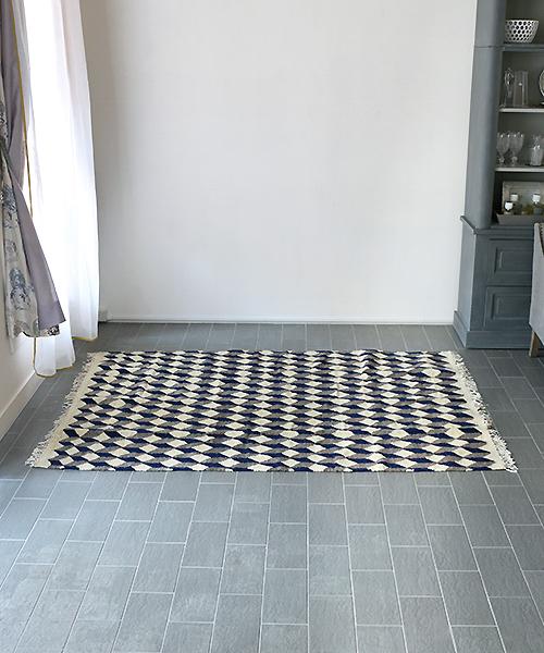 PO!PARIS キリム・キューブ・カーペット150x200・ブルー/フランス パリ 幾何学模様 絨毯 ラグ