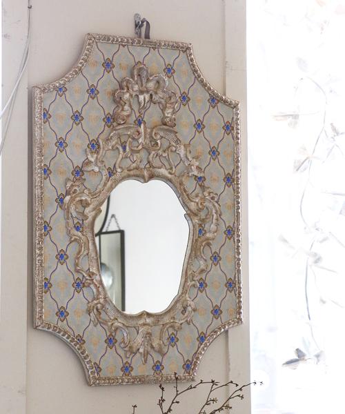 ELUSIO ミラー・ヴェニス・ブルー/彫刻 鏡 ウォールミラー 壁掛けミラー フランス フレンチクラシック ヨーロピアンクラシック ウォールデコレーション 装飾 インテリアオブジェ 壁飾り 応接室 美術 アート
