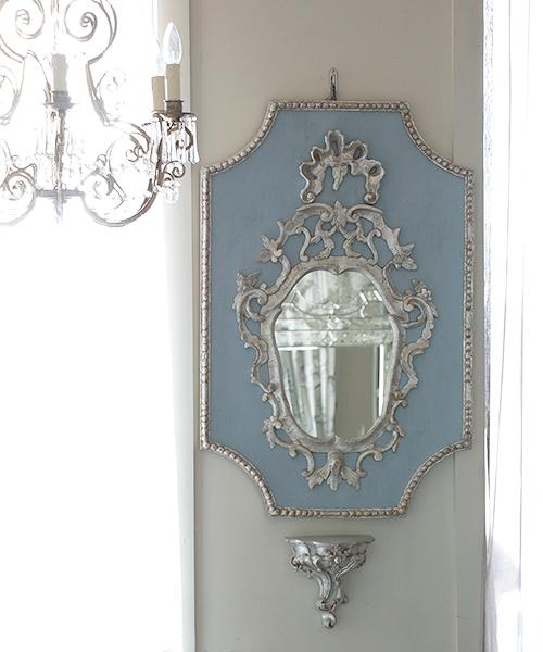ELUSIO ミラー ヴェニス ブルー シルバー 彫刻 鏡 ウォールミラー 壁掛けミラー フランス フレンチクラシック ヨーロピアンクラシック ウォールデコレーション 装飾 インテリアオブジェ 壁飾り 応接室 美術 アート