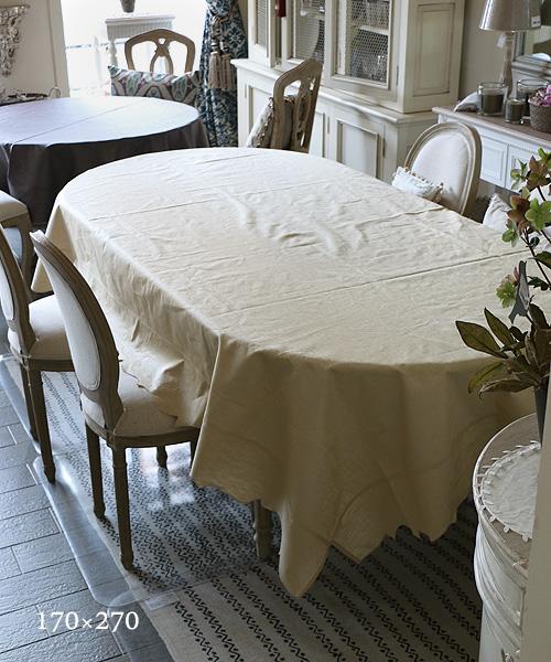 LA GALLINA MATTA オイルクロステーブルクロス・ベージュ170x270/テーブルクロス 撥水 クロス かわいい 北欧 プレイスマット イタリア キッチン雑貨 フランス テーブルウェア マット 洗える オイルクロス