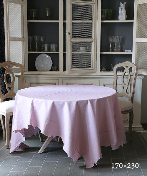 LA GALLINA MATTA オイルクロステーブルクロス・パウダーローズ170x230/テーブルクロス 撥水 クロス かわいい 北欧 プレイスマット イタリア キッチン雑貨 フランス テーブルウェア マット 洗える オイルクロス