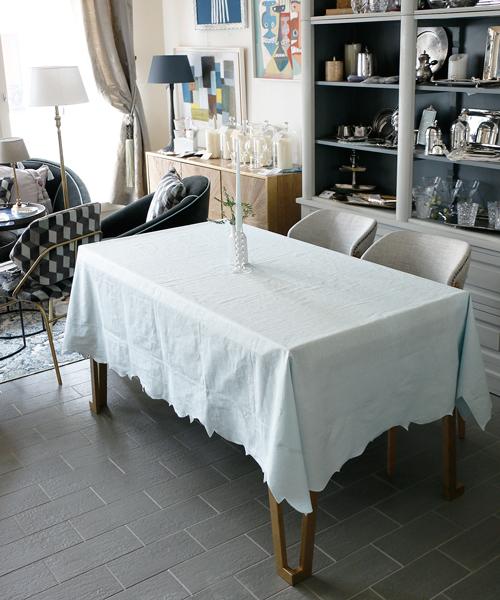 LA GALLINA MATTA オイルクロステーブルクロス・スターライトブルー/テーブルクロス 撥水 クロス かわいい 北欧 プレイスマット イタリア キッチン雑貨 フランス テーブルウェア マット 洗える オイルクロス