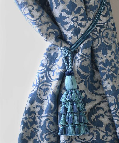 Houles リリー タッセル タイバック ブルー/ カーテン クッション タッセル トリム 部材 飾り ブレード リボン コード フランス