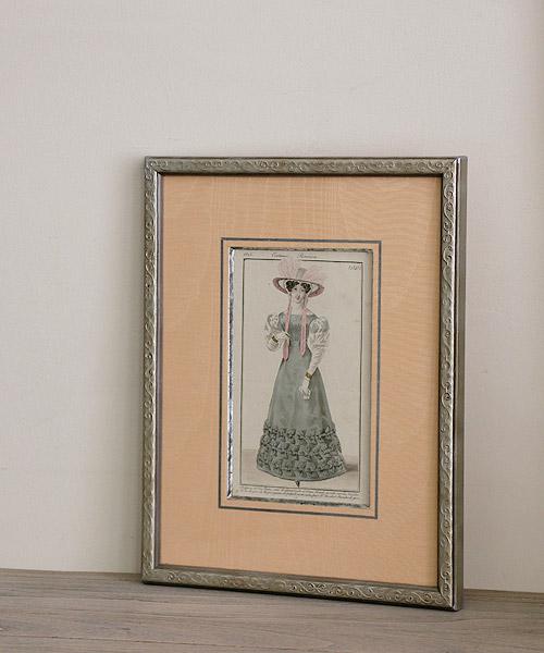 アンティーク版画・サテンパピオンのドレス
