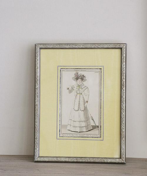 アンティーク版画・モスリンスカーフのホワイトドレス