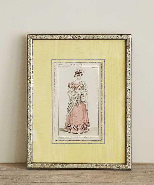 アンティーク版画・ローズシルクのウィンタードレス