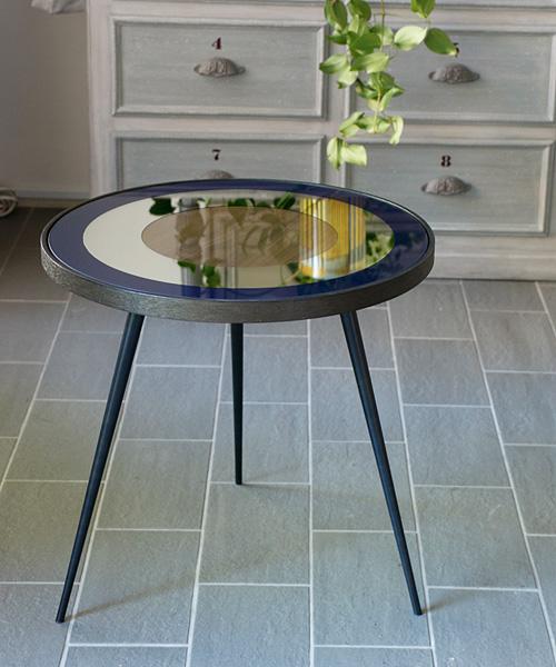 NOTRE MONDE サイドテーブル・ブルズアイPM・ブルー/ リビングテーブル サイドテーブル 北欧 アンティーク 丸型