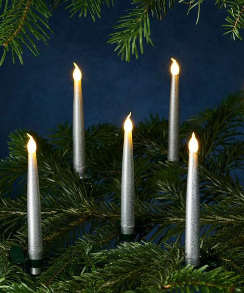 SIRIUS キャロリン・LEDキャンドルH15cm・シルバー10p set /シリウス キャンドル ろうそく 北欧 オーナメント クリスマス Christmas Xmas LED ディスプレイ デコレーション イルミネーション リモコン クリスマスツリー