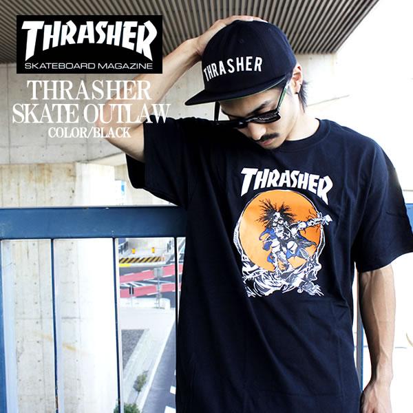 THRASHER   slasher short sleeve T shirt SKATE OUTLAW TEE black maglogo T  shirt t shirt tee shirt rock band Street T-shirt men s women s slasher t- shirt ... 40f7925d3