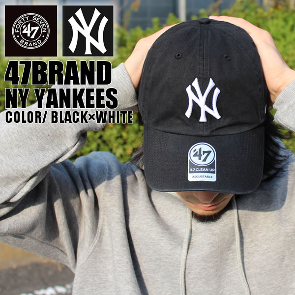 47 BRAND fourteen seven brand MLB NEW YORK YANKEES New York Yankees CLEAN  UP Cap CAP Hat Hat men s women s fashion street skater skating B of hip-hop  day ... 657751e1310d