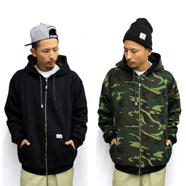 PRO CLUB and Pro Club reversible ZIP hoodie and black x Woodland Camo big size... thermal... big.B system... Street... camouflage