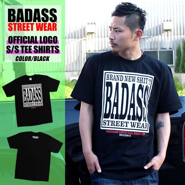 BADASS STREET WEAR バダス 공식 T-셔츠 BADASS OFFICIAL TEE/블랙 오리지널. 상자 로고. 신작. 인기. 제한. 스트리트 스케이팅. 협력적. 이중 이름