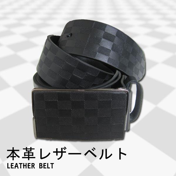 メンズストリートファッションならBLAST お得クーポン発行中 BLACK LEATHER BELTブラックレザーベルト格子柄本革 激安 激安特価 送料無料 黒