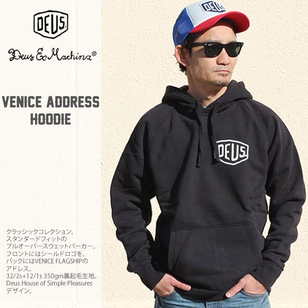 DEUS DeusExMachina Venice Address Hoodie デウスエクスマキナ ブラック プルオーバーパーカーファッション トップス スウェット パーカー プリント ロゴ deusu バイカー スケート サーフ