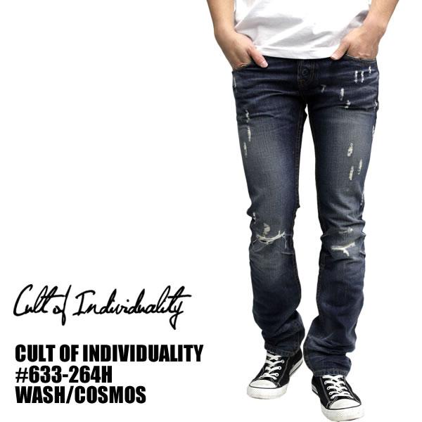CULTOF1NDIVIDUALITY / カルトオブインディビデュアリティ デニムパンツ COSMOS インディゴセレクトブティック スキニー ジーンズ ジンズ ジーパン スリム 細身 メンズ ボトムス パンツ ズボン フロントボタンフライ