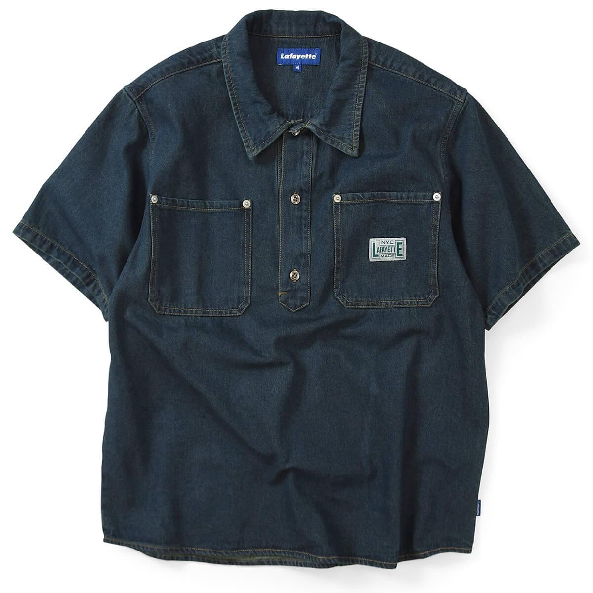Lafayette ラファイエット 半袖 シャツ メンズ ストリート ブランド デニムシャツ プルオーバーシャツ 半そで DENIM PULLOVER S/S SHIRT LS200202 INDIGO BLUE インディゴブルー